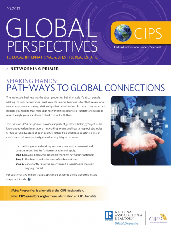 Cover of the October 2013 issue of Global Perspectives: Networking Primer