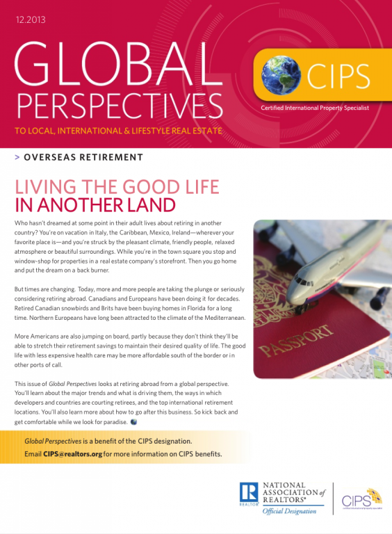 Cover of the December 2013 issue of Global Perspectives: Overseas Retirement