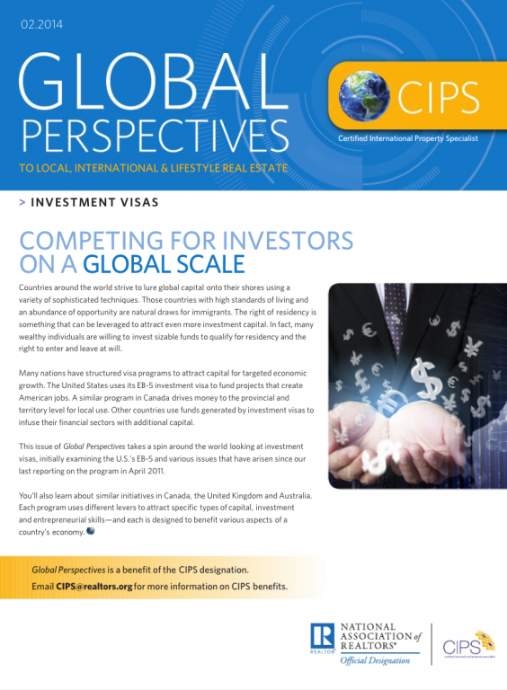 Cover of the February 2014 issue of Global Perspectives: Investment Visas