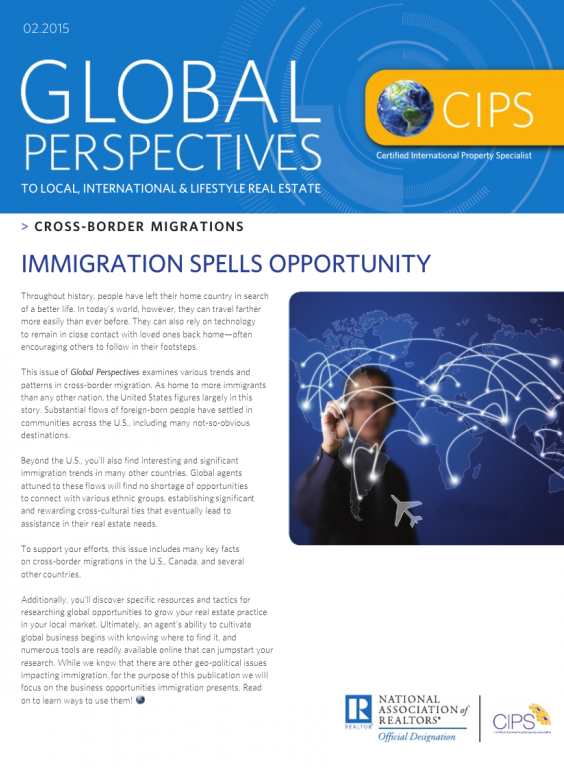 Cover of the February 2015 issue of Global Perspectives: Cross-Border Migrations