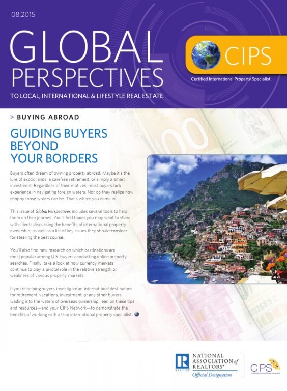 Cover of the August 2015 issue of Global Perspectives: Buying Abroad