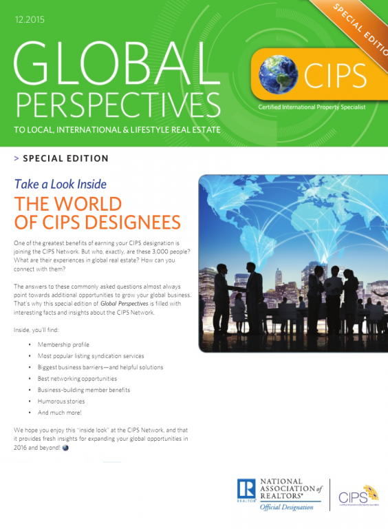 Cover of the December 2015 issue of Global Perspectives: Special Edition: The World of CIPS Designees
