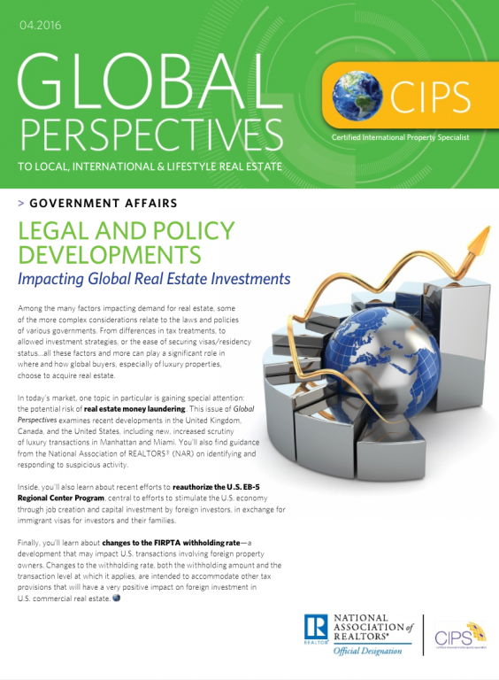 Cover of the April 2016 issue of Global Perspectives: Government Affairs