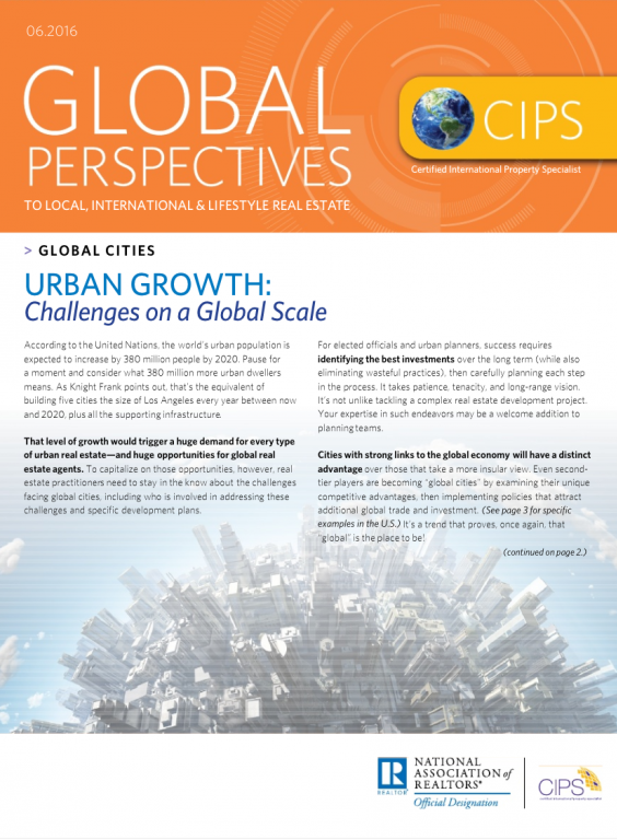 Cover of the June 2016 issue of Global Perspectives: Global Cities