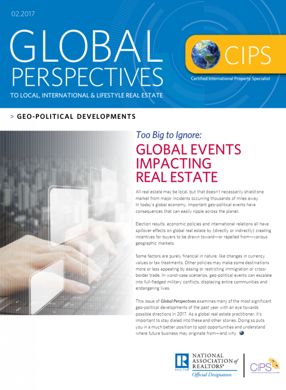 Cover of the February 2017 issue of Global Perspectives: Geo-Political Developments