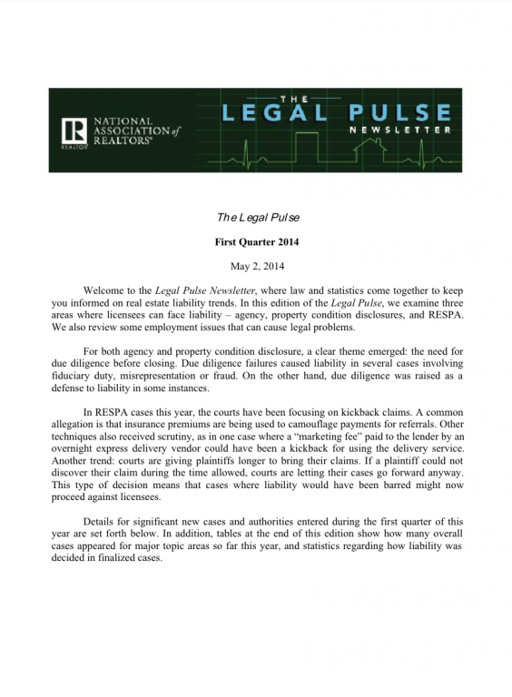 Cover of the 2014 Q1 issue of Legal Pulse: Agency, PCD, Rights, RESPA, Employment