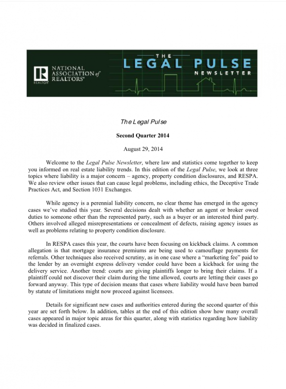 Cover of the 2014 Q2 issue of Legal Pulse: Agency, Property Condition Disclosure, RESPA, Ethics