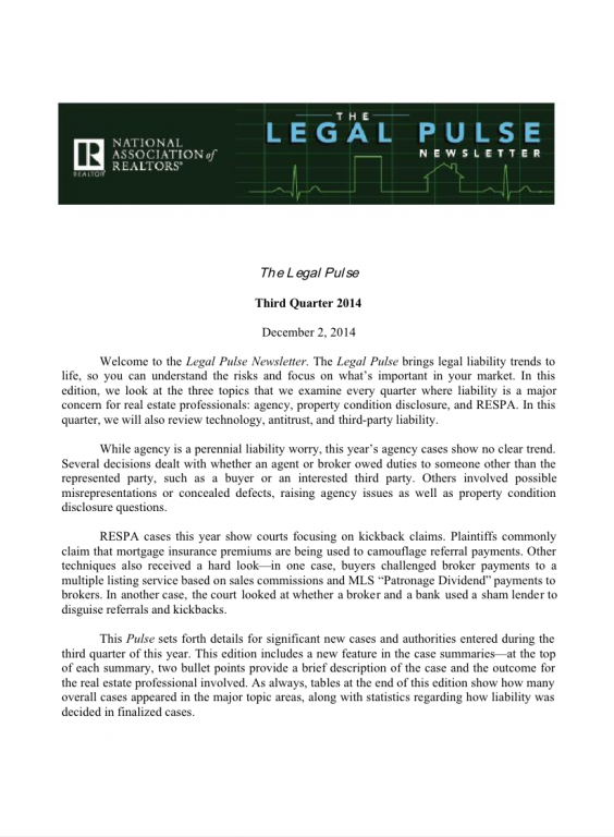 Cover of the 2014 Q3 issue of Legal Pulse: Agency, Property Condition Disclosure, RESPA, Ethics
