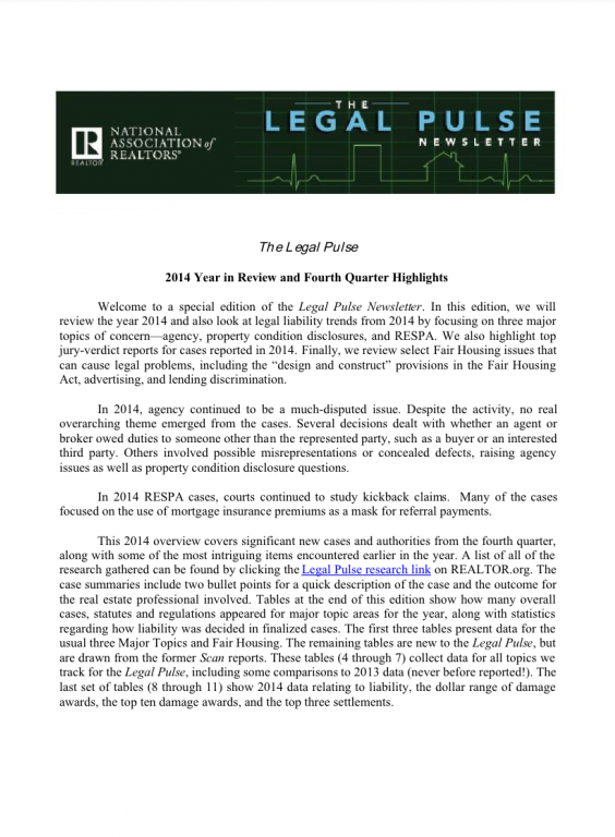 Cover of the 2014 Q4 issue of Legal Pulse: Year in Review