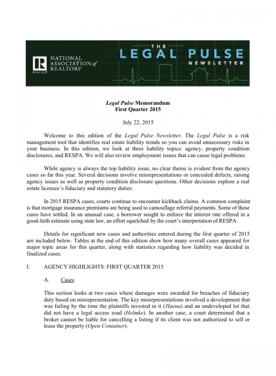 Cover of the 2015 Q1 issue of Legal Pulse: Agency, PCD, Cases, Rights, RESPA, Employment