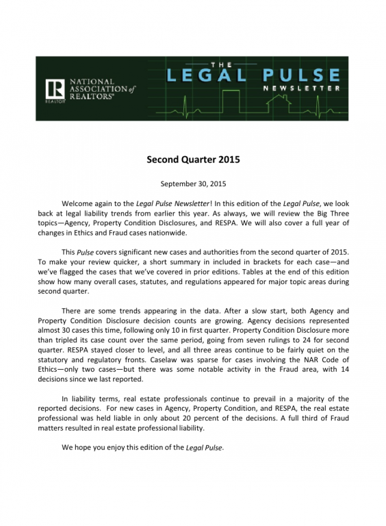 Cover of the 2015 Q2 issue of Legal Pulse: Agency, PCD, Cases, RESPA, Code of Ethics Update