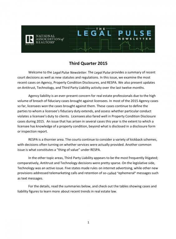 Cover of the 2015 Q3 issue of Legal Pulse: Agency, PCD, RESPA, Antitrust, Technology, Third-Party Liability