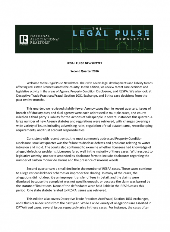 Cover of the 2016 Q2 issue of Legal Pulse: Agency, PCD, RESPA, DPTA, Fraud, Section 1031, Exchanges, and Ethics