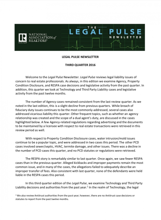 Cover of the 2016 Q3 issue of Legal Pulse: Agency, PCD, RESPA, Technology, and Third Party Liability