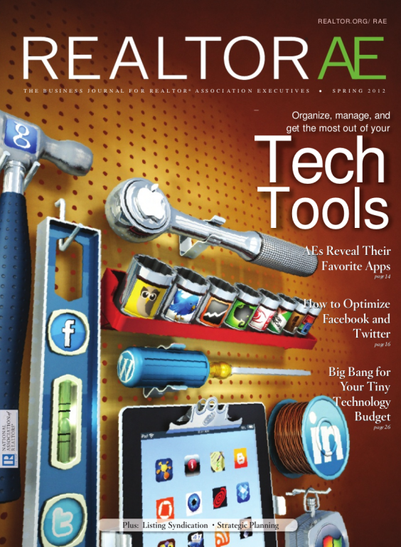 Cover of the 2012 Spring issue of REALTOR® AE Magazine: Tech Tools
