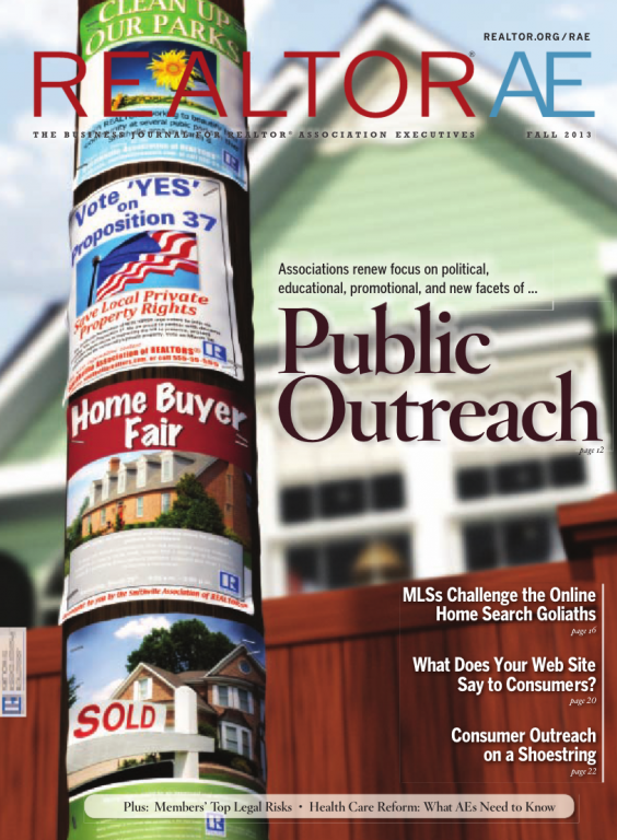 Cover of the 2013 Fall issue of REALTOR® AE Magazine: Public Outreach