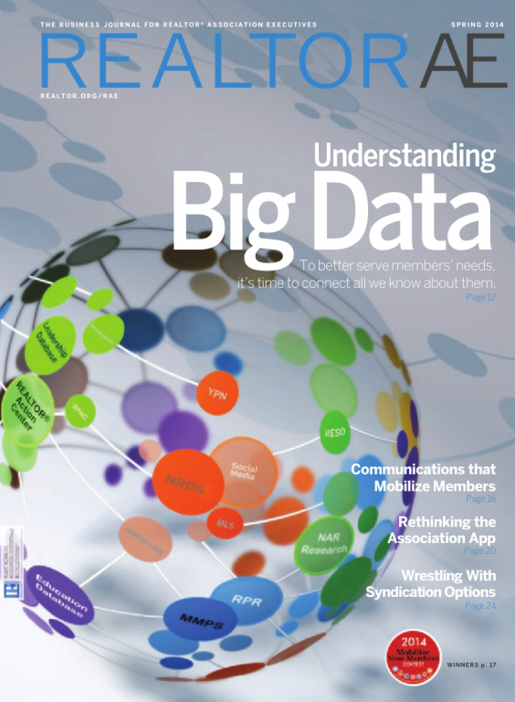 Cover of the 2014 Spring issue of REALTOR® AE Magazine: Understanding Big Data