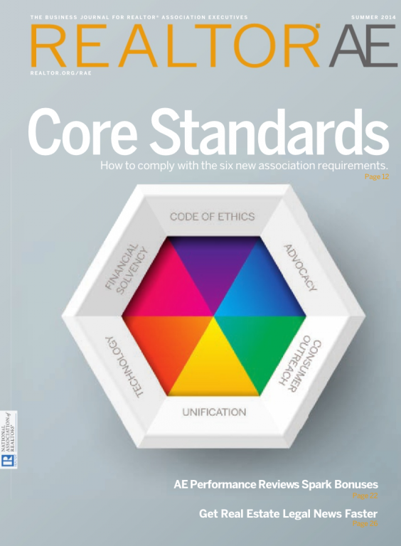 Cover of the 2014 Summer issue of REALTOR® AE Magazine: Core Standards