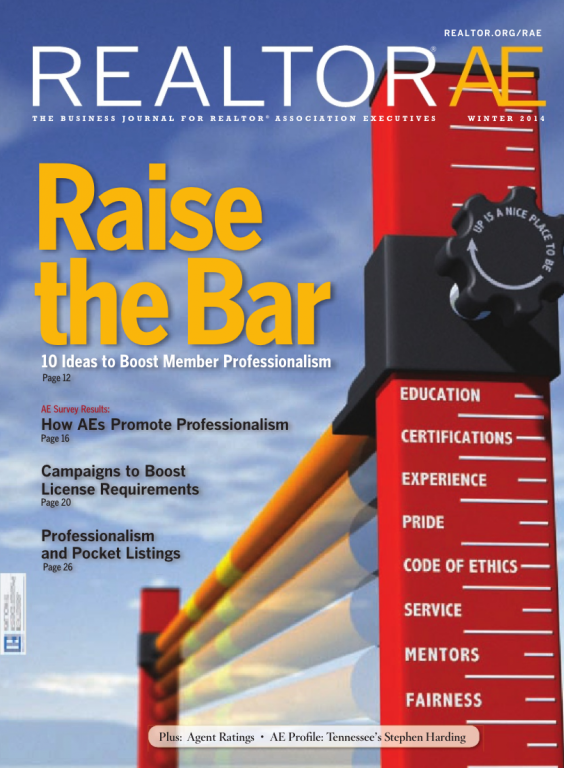 Cover of the 2014 Winter issue of REALTOR® AE Magazine: Raise the Bar