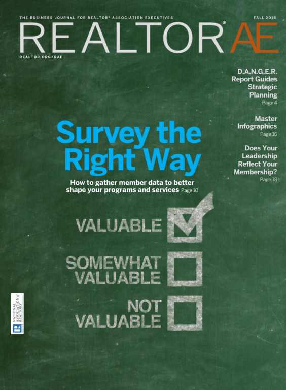 Cover of the 2015 Fall issue of REALTOR® AE Magazine: Survey the Right Way