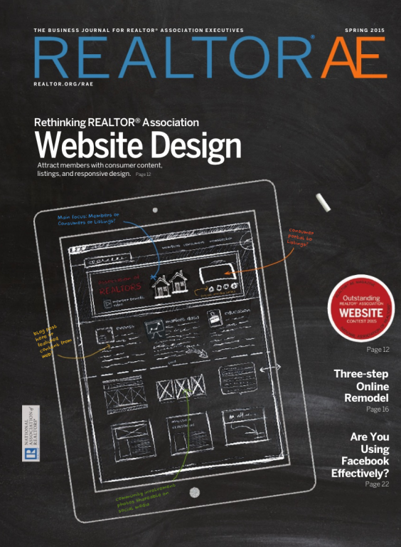 Cover of the 2015 Spring issue of REALTOR® AE Magazine: Rethinking REALTOR® Association Web Design