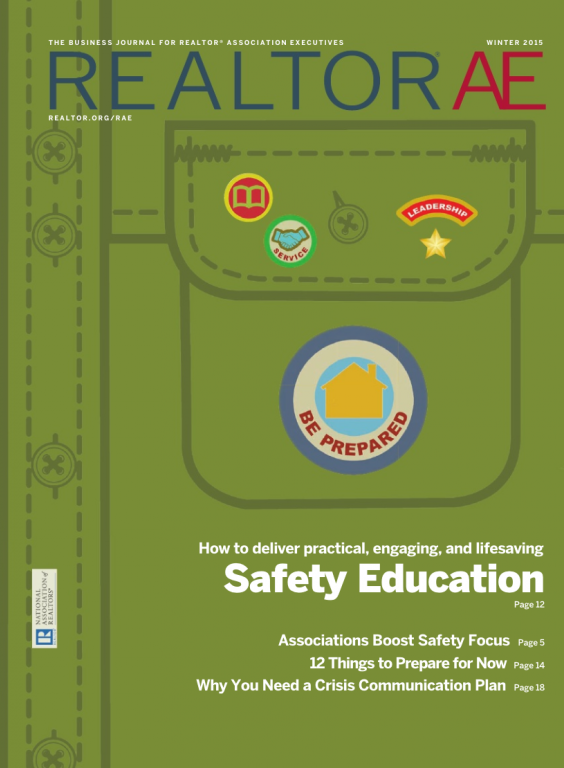 Cover of the 2015 Winter issue of REALTOR® AE Magazine: Safety Education