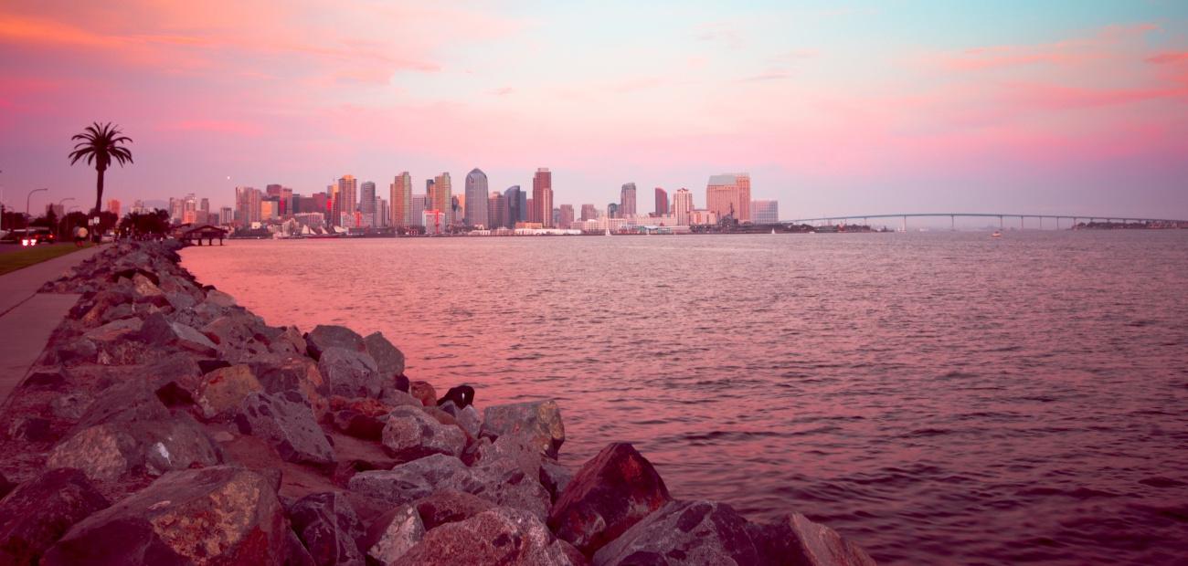 San Diego California skyline and bay at dusk