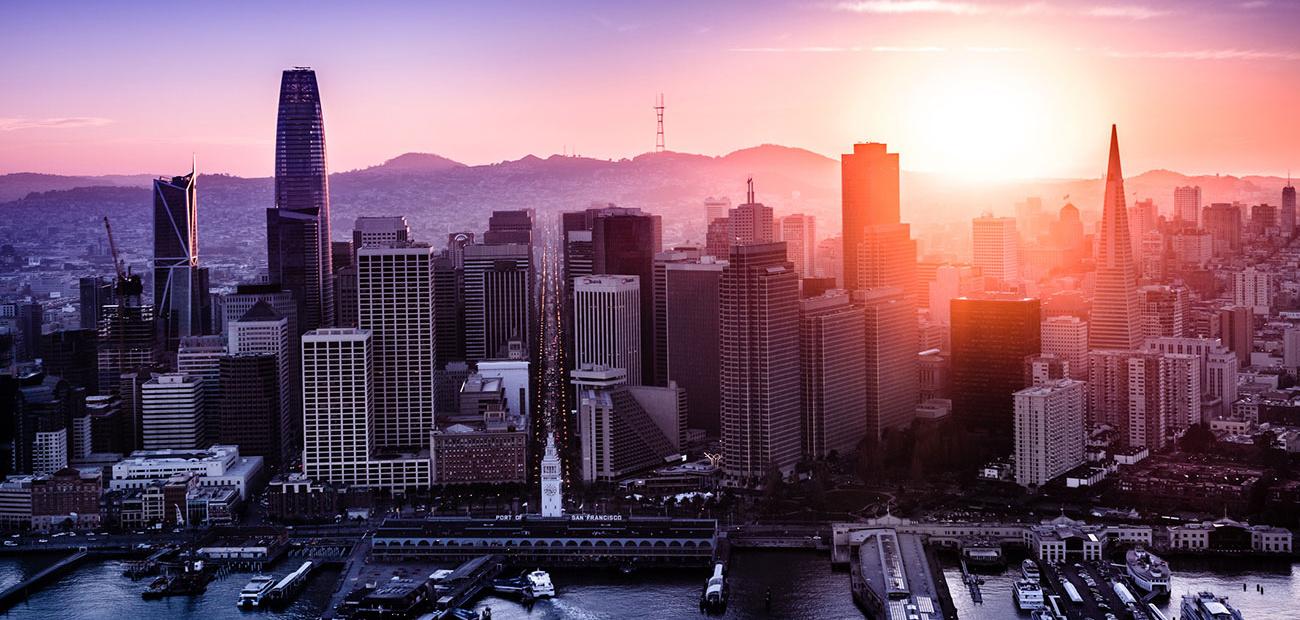 San Francisco City Skyline & Hills at Dusk