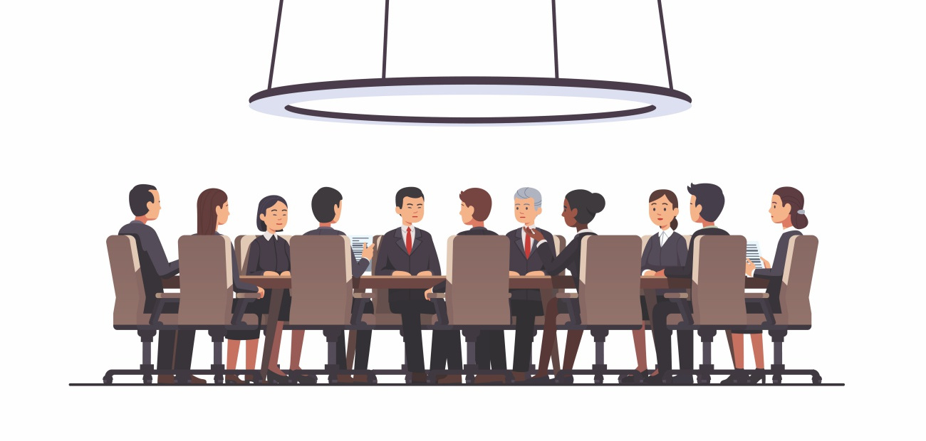 Illustrated business men and women at a board meeting