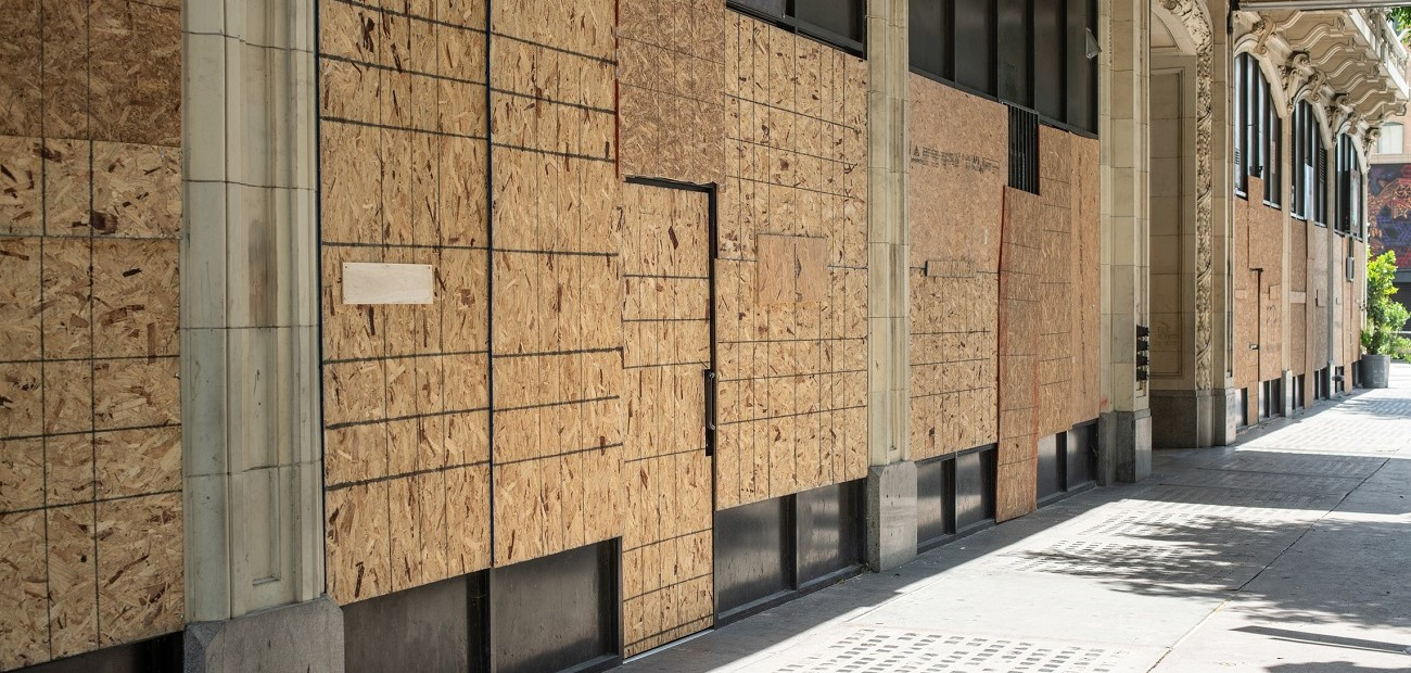 Boarded up windows during George Floyd protest in downtown Los Angeles
