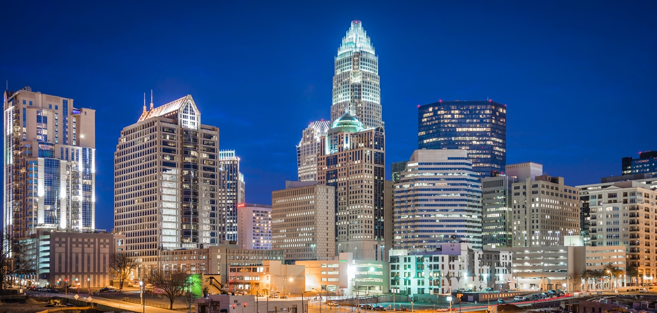 Charlotte, North Carolina at night