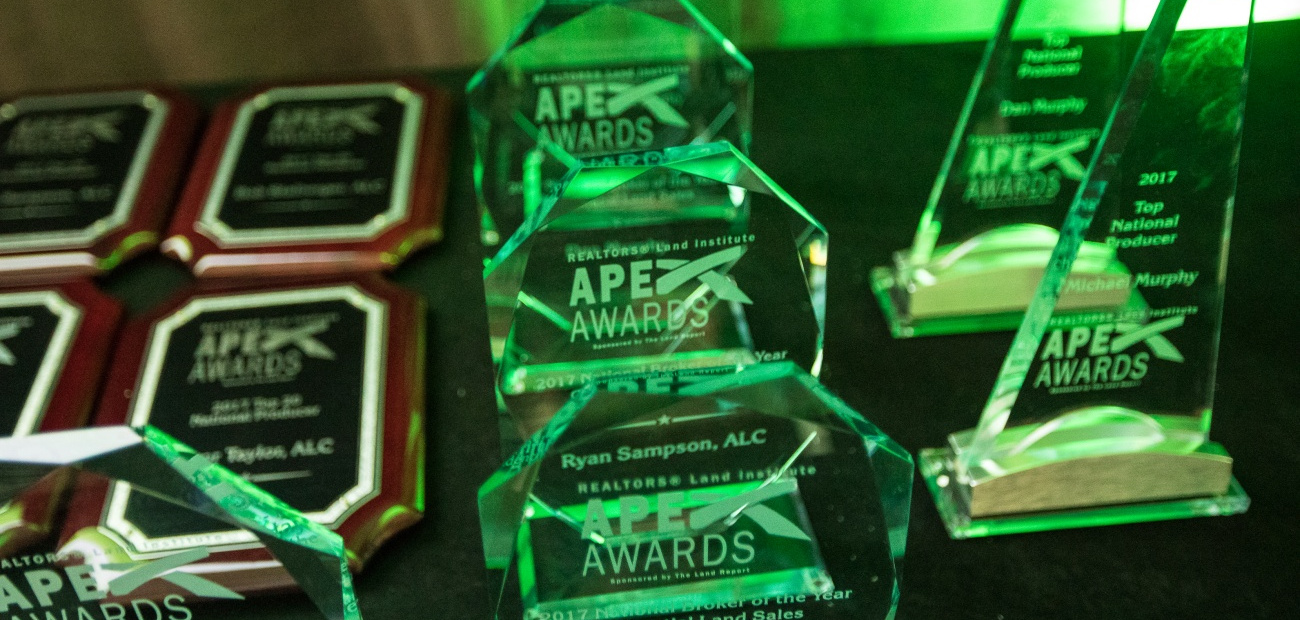 Trophies featured at the 2021 Apex Awards