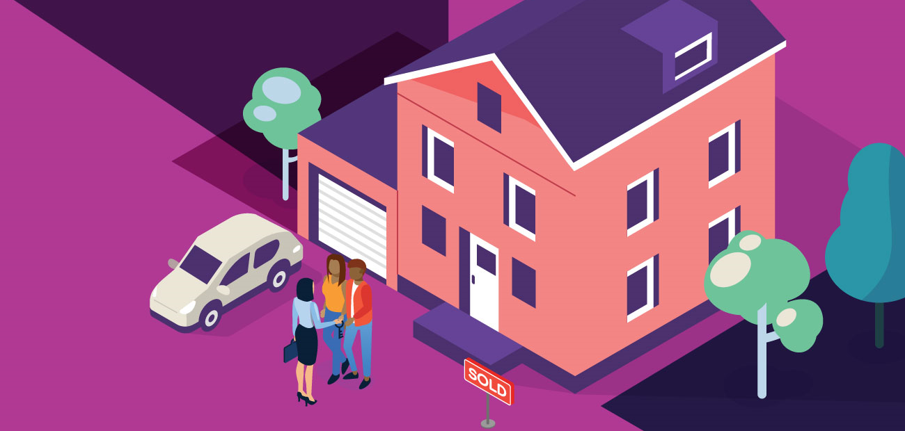 An illustration showing a realtor shaking hands with a couple outside their new home featuring a sold sign