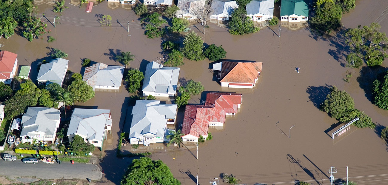 Aerial Flooded Streets & Homes