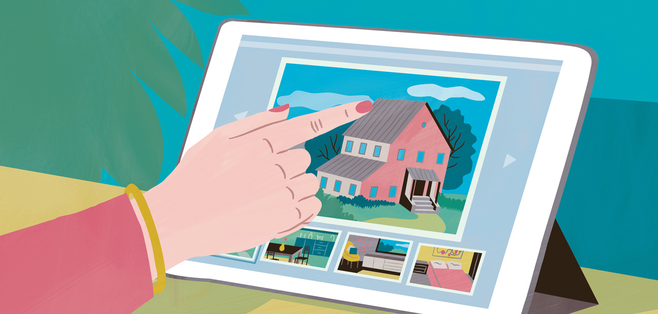 A finger pointing to a cartoon tablet featuring a image of a house.