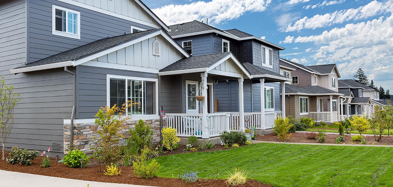 New homes in a suburban neighborhood