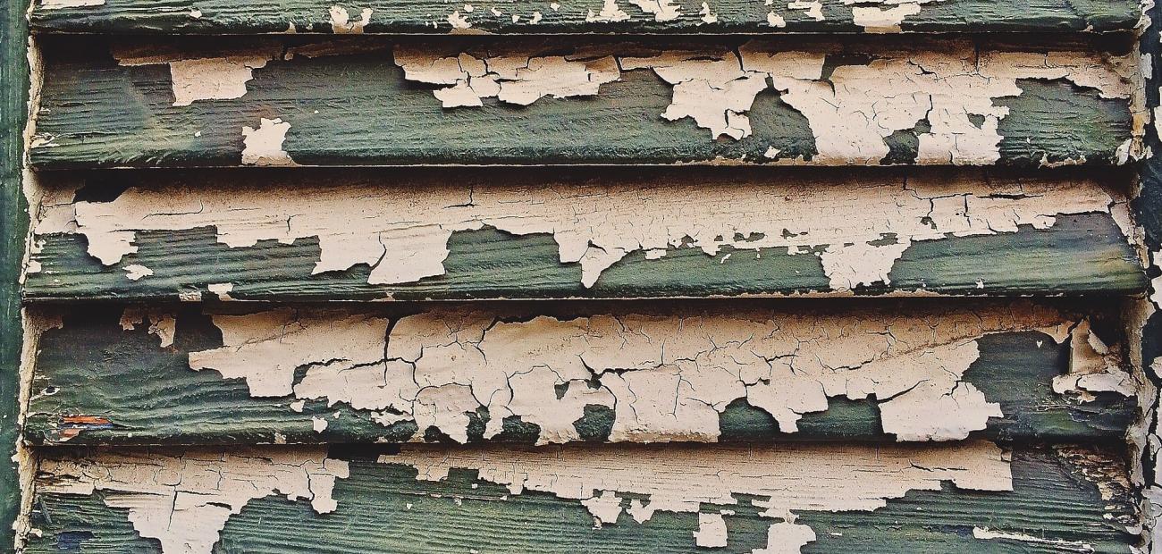 peeling paint on shutters