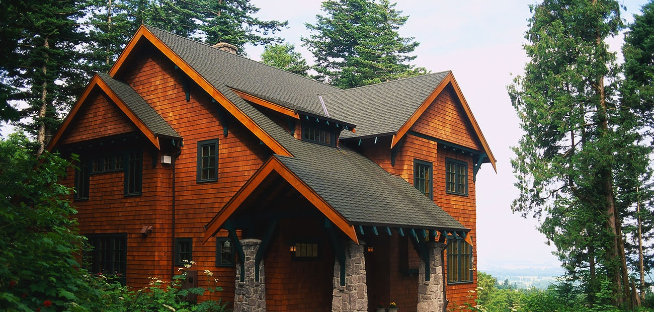 Wood-shingled house