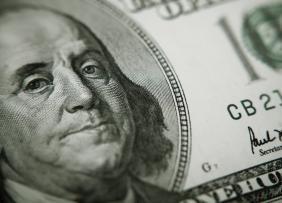 Closeup of Benjamin Franklin on 100 dollar bill