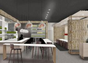 A rendering of a interior retail space with plentiful seating and light ash walls