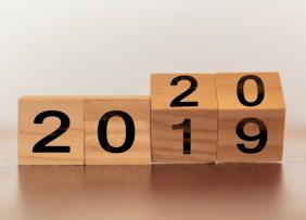 Wooden cubes flip from 2019 to 2020