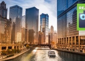 Chicago Loop and Chicago River with Own It logo