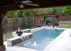 A pool with water and fire features