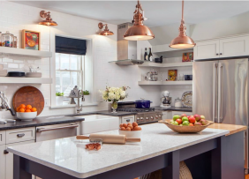 Kitchen with copper fixtures