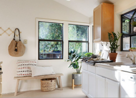 Bright kitchen staged for summer