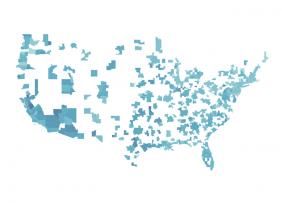 Blue map of metropolitan statistical areas in the U.S.