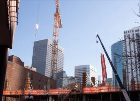 Construction site with highrises in the background