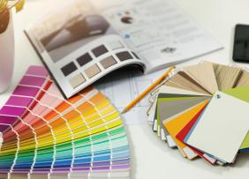 Designer workplace interior paint color and furniture material samples