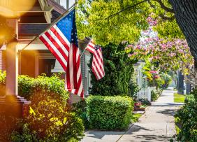 Homes with U.S. flags