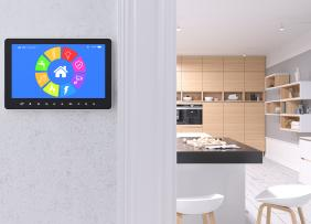 House interior with smart home control panel